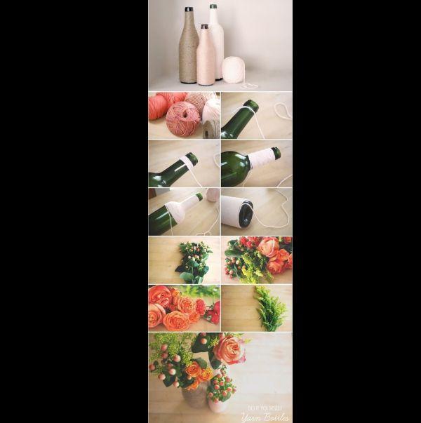 garrafa de vidro com flores e linha