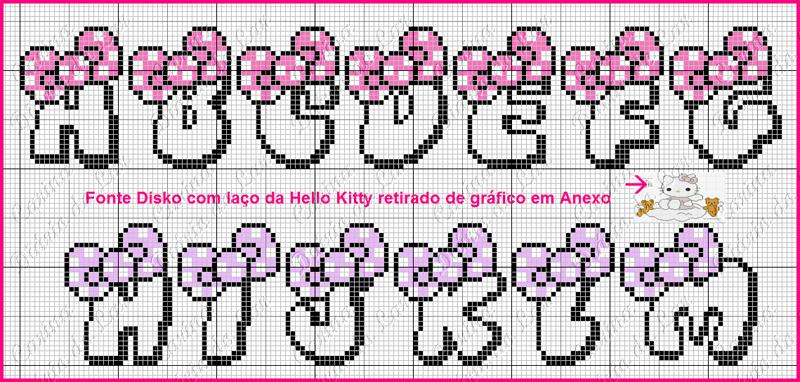 grafico de alfabeto em ponto cruz laço rosa