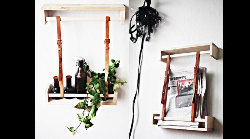 prateleira de madeira com cinto