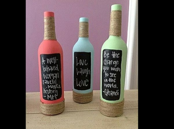 decoração de garrafa com tinta lousa