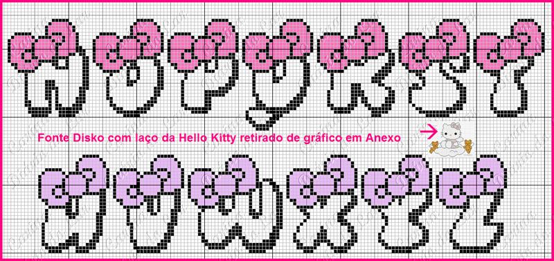 grafico de alfabeto em ponto cruz laço lilas