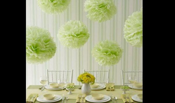 pompom de papel crepom verde