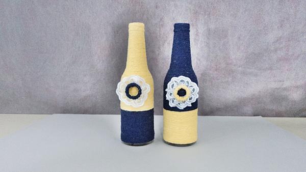 garrafa de vidro com croche
