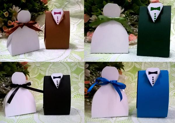 lembrança de casamento com papel e fita