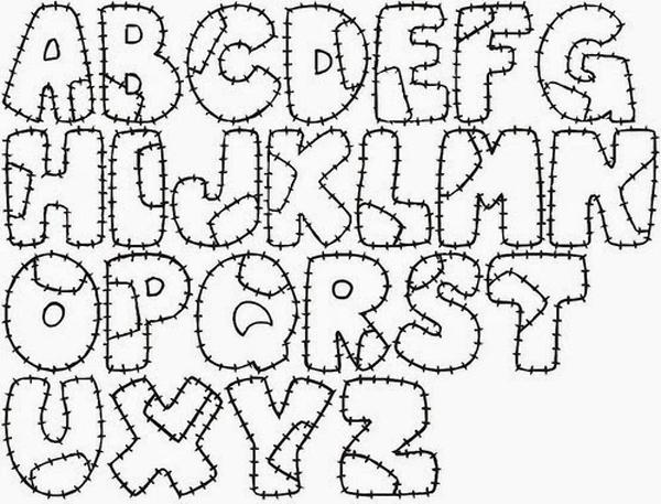 molde para patchwork de alfabeto