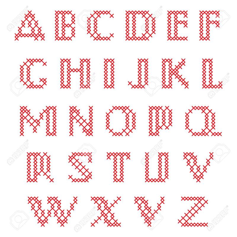 grafico de alfabeto em ponto cruz duplo