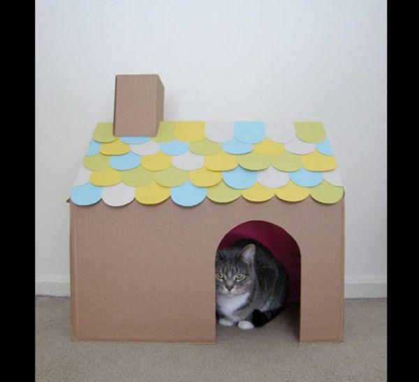 casa de papelão com telhado