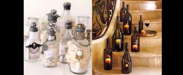 decoração de garrafa com pedrarias