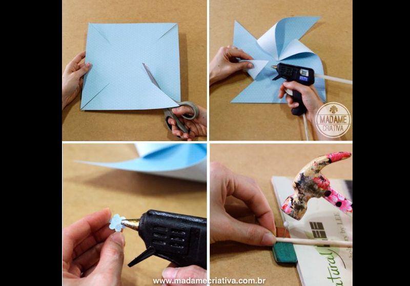 passo a passo catavento de papel