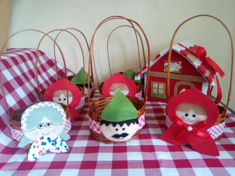 cesta decorada com feltro