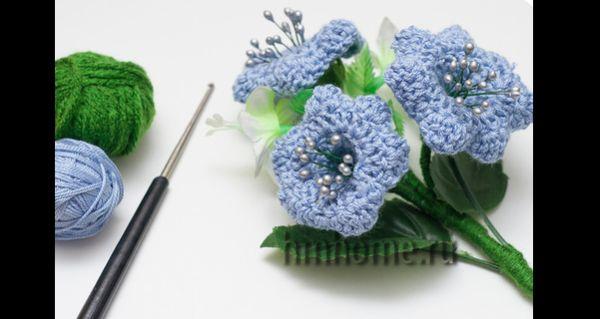 flor de croche com pistilos