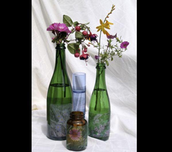 decoração de garrafa com papel