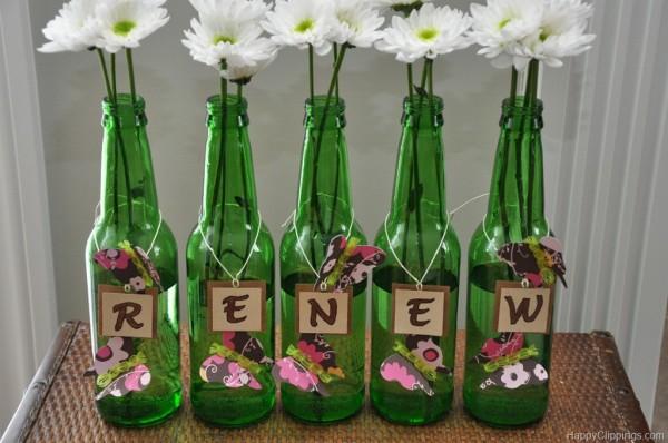 decoração de garrafa com borboletas