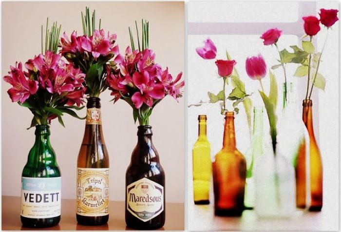 enfeite de mesa flor na garrafa