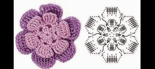flor de croche com duas cores