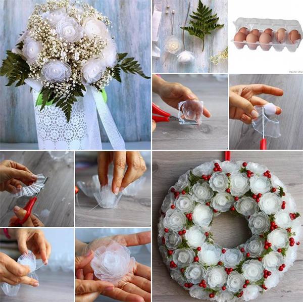 guirlanda com flores com caixa de ovos de plastico