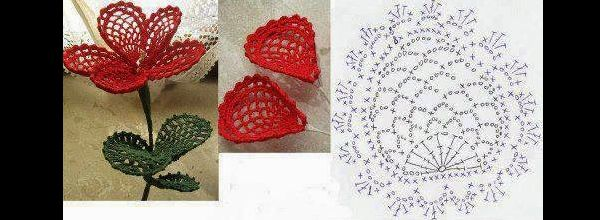 flor de croche com petalas
