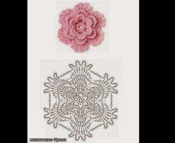 flor de croche com camadas