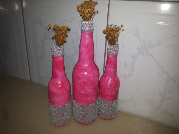 garrafa de vidro com strass