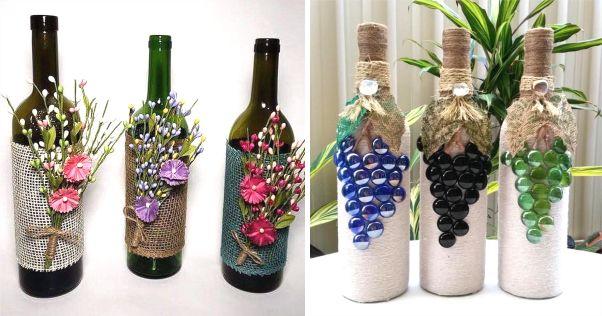 garrafas de vidro decoradas com flores