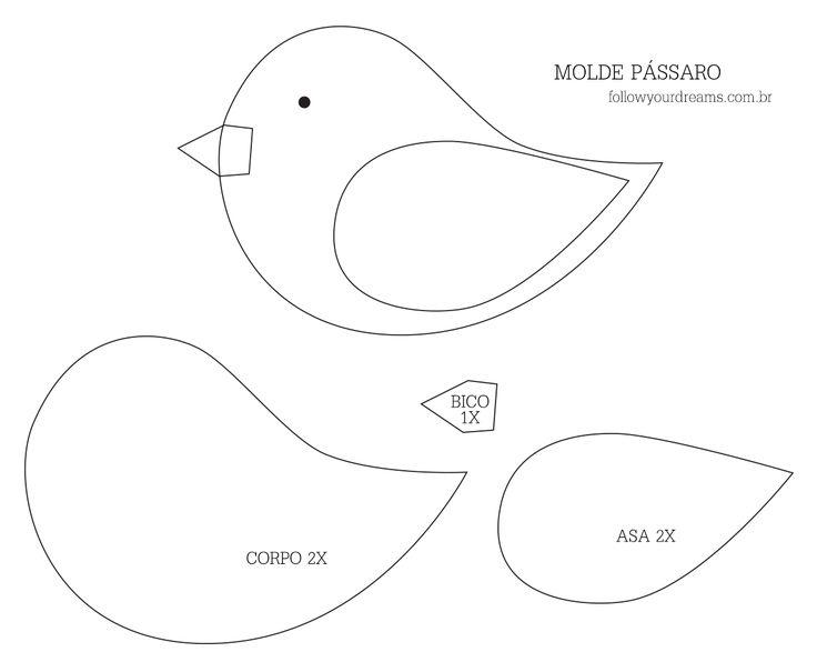 Adesivos Personalizados Infantil De Parede ~ Molde Passarinho de Feltro Artesanato Passo a Passo!