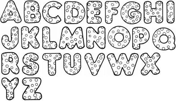 molde de letras com bolinhas