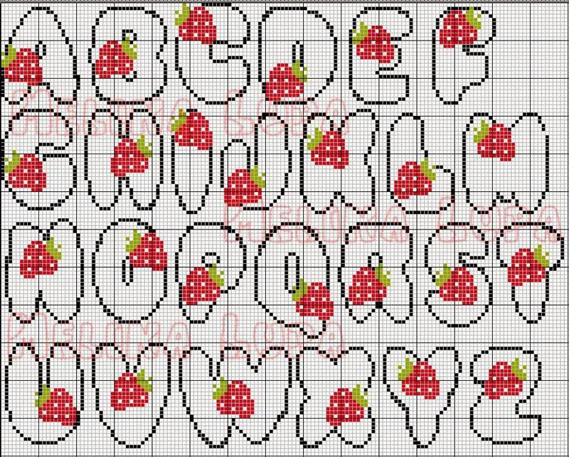 grafico de alfabeto em ponto cruz com morango