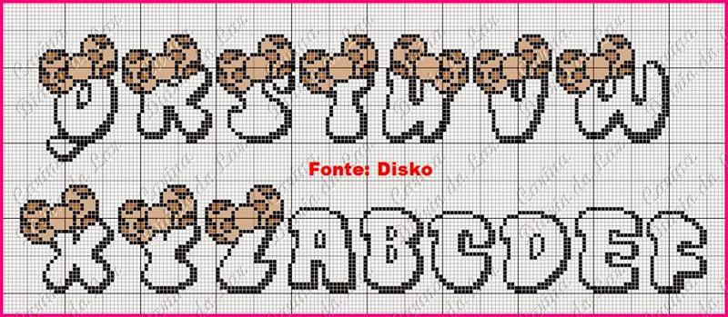 grafico de alfabeto em ponto cruz onça