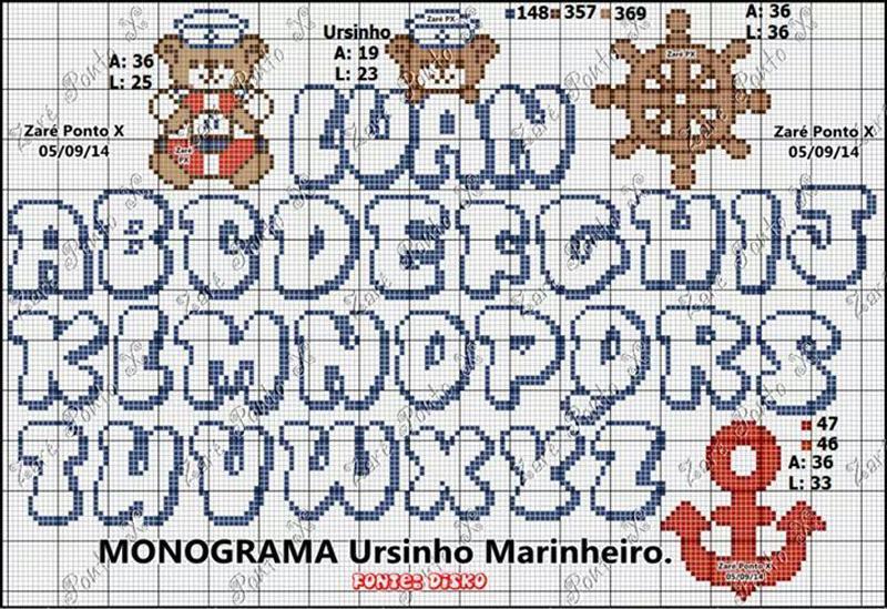 monograma ponto cruz navy