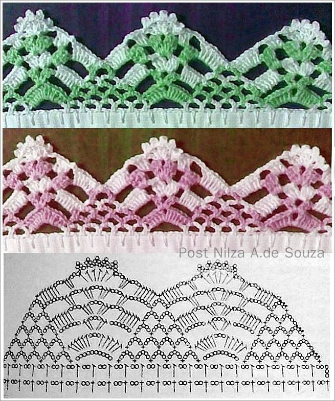 bico de crochê com linha mesclada