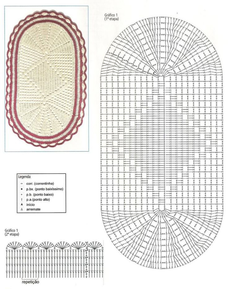tapete de crochê com duas cores