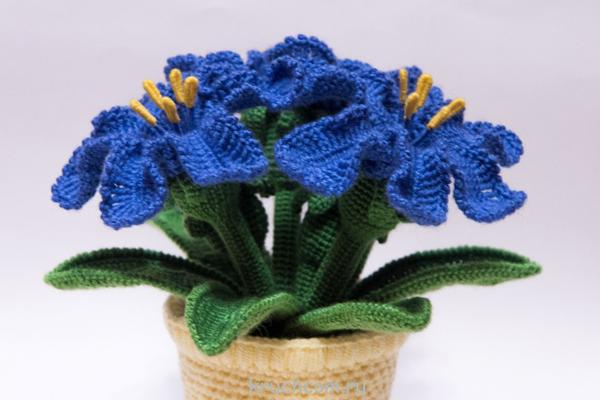 flor de croche para vaso