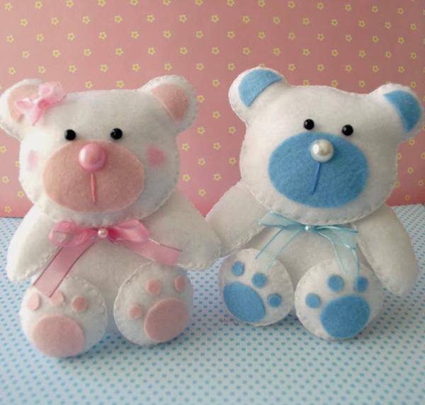 ursinho com feltro menino e menina