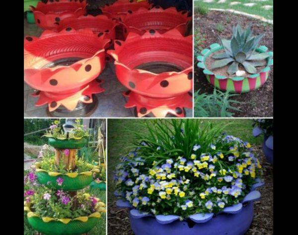 vaso de pneu com flores