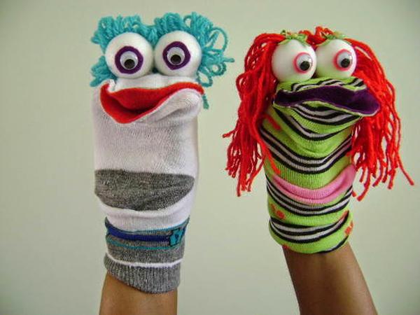 fantoche feito com meia palhaço