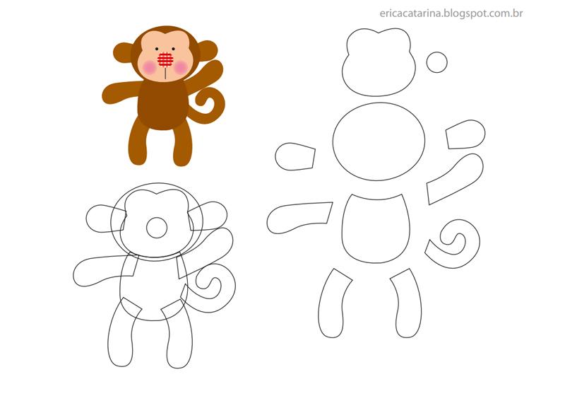 animais em feltro macaco