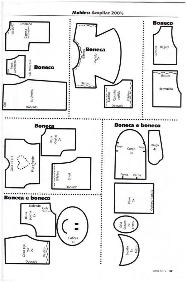 molde de boneca de tecido
