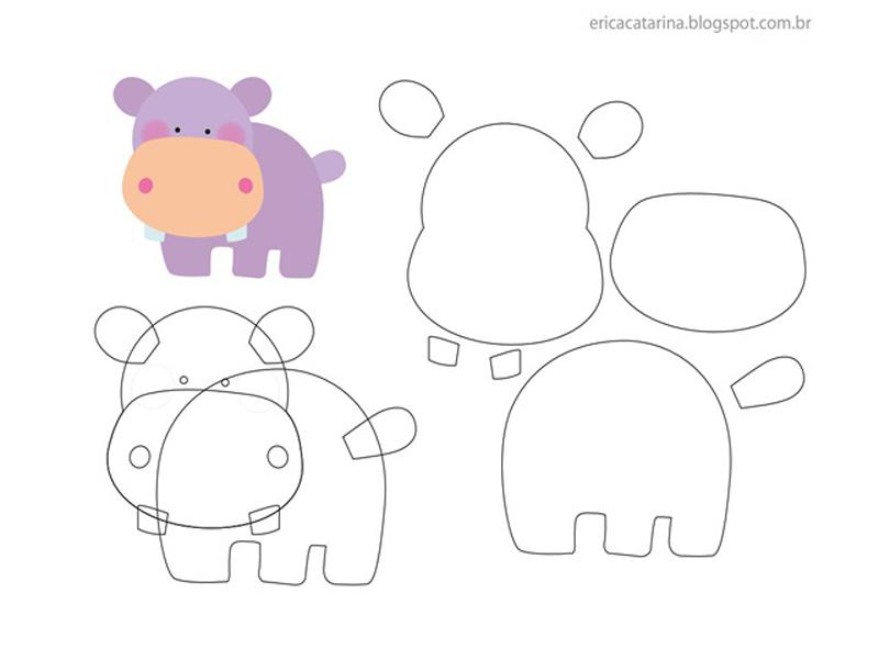 animais em feltro hipopótamo