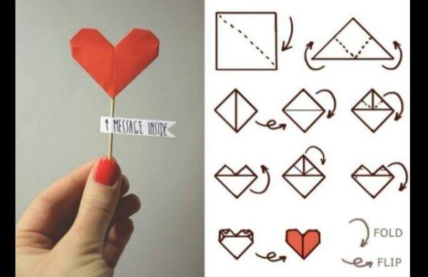 origami de coração com recado