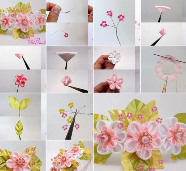 flor de fita de cetim rosinha