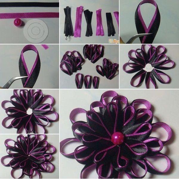 flor de fita de cetim preta