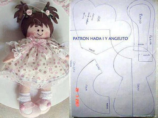 boneca de tecido com molde