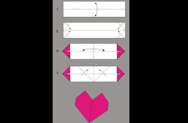 origami de coração simples