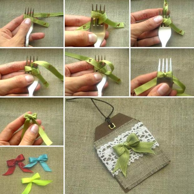 laço de fita no garfo