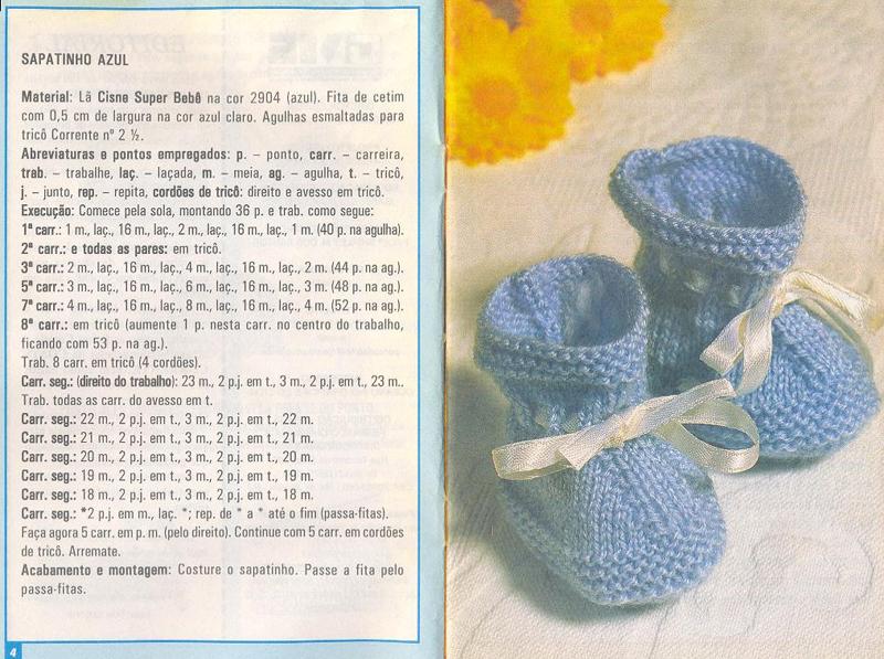 sapatinho em tricô com receita