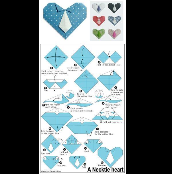 origami de coração com gravata