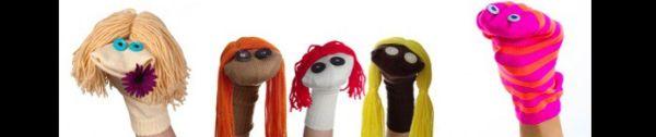 fantoche feito com meia com cabelo
