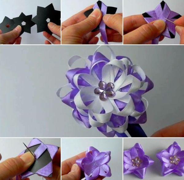 flor de fita de cetim mesclada