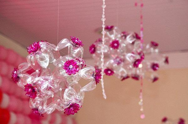 lustre de flor de garrafa pet