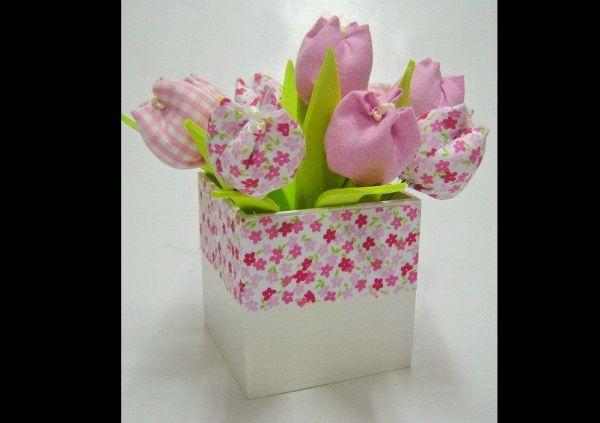 tulipa de tecido estampado